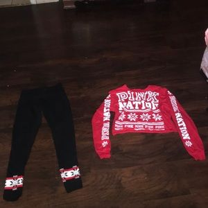 Victoria Secret pink leggings and crop top set
